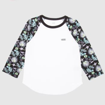 Vans White & Green Califas Ls Tee Womens Tops