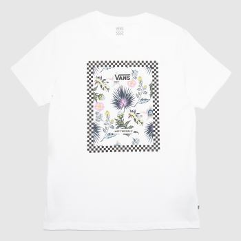Vans White & Pink Border Floral Bf Tee Womens Tops
