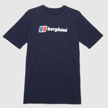 berghaus Navy Organic Big Logo T-shirt Mens Tops