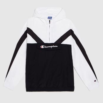 Champion Black & White Hooded Half Zip Sweat Tops