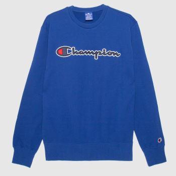 Champion Blue Crewneck Sweatshirt Mens Tops