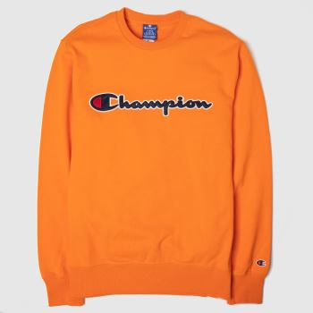 Champion Orange Crewneck Sweatshirt Mens Tops