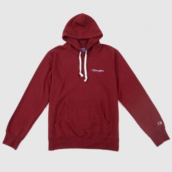 Champion Burgundy Hooded Sweatshirt Mens Tops