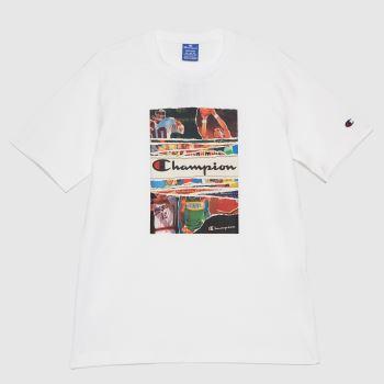 Champion White Crewneck T-shirt Mens Tops