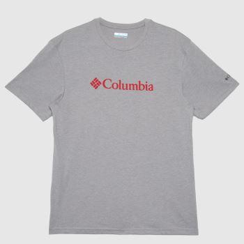 Columbia  Grey Basic Logo T-shirt Mens Tops