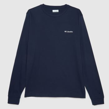 Columbia  Navy Pikewood Graphic Long Sleeve Mens Tops