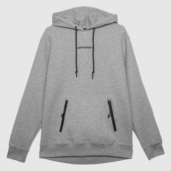 Converse Grey Court Zip Pocket Hoodie Mens Tops
