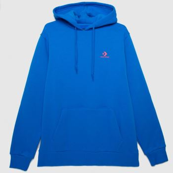 Converse Blue Embroidered Fleece Hoodie Mens Tops