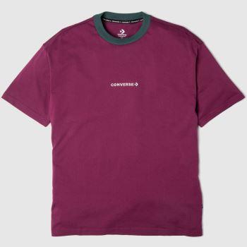 Converse Weinrot Wordmark T-shirt Tops für Herren