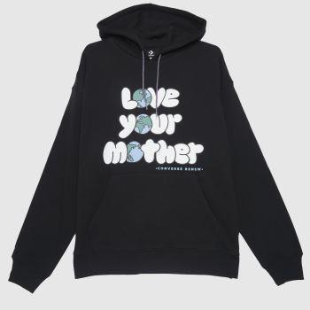 Converse Schwarz-Weiß Love Your Mother Hoodie Tops für Herren