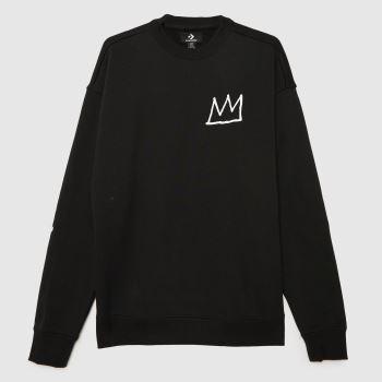 Converse Black & White Basquiat Fleece Sweatshirt Mens Tops
