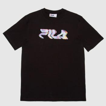 Fila Black Molten Glitch T-shirt Mens Tops