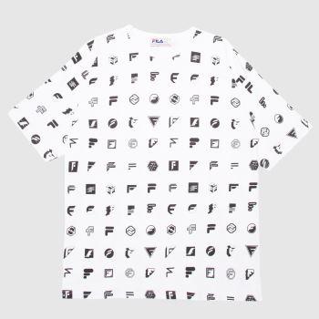 Fila White & Black Farworks Ico Aop T-shirt Mens Tops