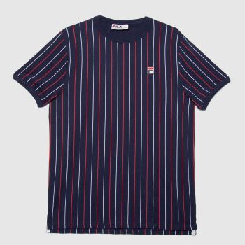 Fila Navy & Red Mica Stripped T-shirt Mens Tops