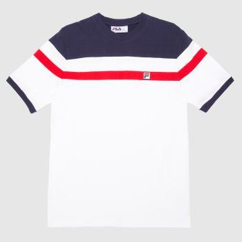 Fila White & Navy Sten Cut & Sew T-shirt Mens Tops