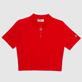 Fila Red Orla Zip Front Polo Mens Tops