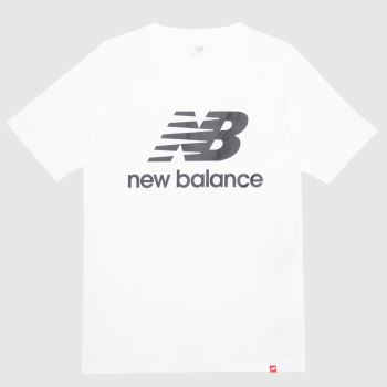 New balance White & Black Essentials Stacked Logo Tee Mens Tops