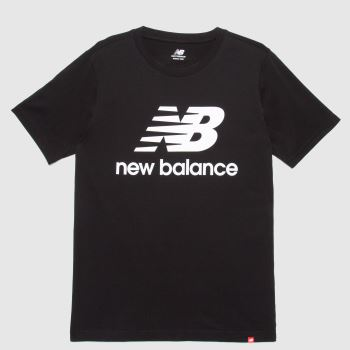 New balance Black & White Essentials Stacked Logo Tee Mens Tops