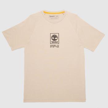 Timberland Beige Stack Logo T-shirt Mens Tops