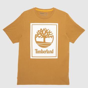 Timberland Brown Yc Ss Stack Logo T-shirt Mens Tops
