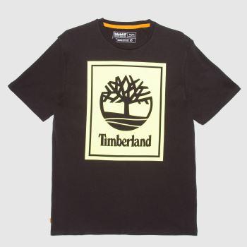 Timberland Black & Green Yc Ss Stack Logo T-shirt Mens Tops
