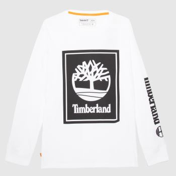 Timberland White & Black Yc Ls Stack Logo T-shirt Mens Tops