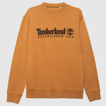 Timberland Tan Heritage Crew Neck Sweatshirt Mens Tops