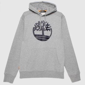 Timberland Grey Tree Logo Hoodie Mens Tops