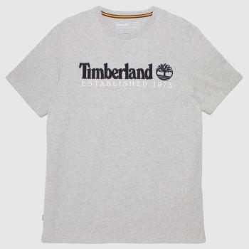 Timberland Grey Heritage Linear Logo T-shirt Mens Tops