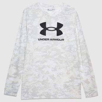 Under Armour White & Black Abc Camo Long Sleeve Mens Tops