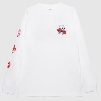 Vans White & Red Rose Bed Ls T-shirt Mens Tops
