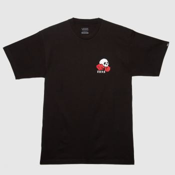 Vans Black & Red Rose Bed Ss T-shirt Mens Tops