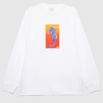 Vans White & Orange Reality Coral Ls T-shirt Mens Tops