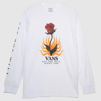 Vans White Flores Ls Mens Tops