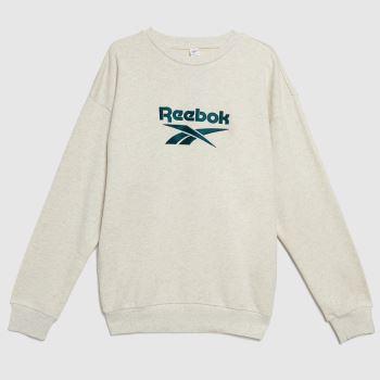 Reebok White Vector Crew Sweatshirt Mens Tops