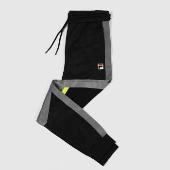 Fila Black & Grey Anik Colour Block Pants Mens Bottoms