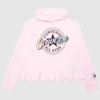 Converse Pale Pink Girls Hooded Peplum Girls Tops