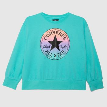 Converse Turquoise Girls Patch Boxy Crew Girls Tops