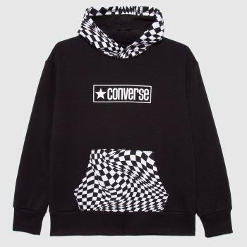 Converse Black & White Boys Checker Print Hoodie Boys Tops