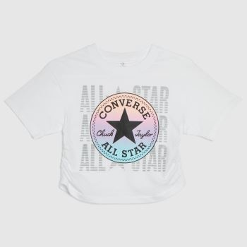 Converse White & Pink Girls Ruched Boxy Ombre Girls Tops