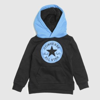 Converse Black and blue Kids Sherpa Lined Hoodie Boys Tops