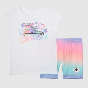 Converse White & Pink Girls Biker Short 2 Piece Girls Tops