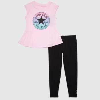 Converse Black & pink Girls Chuck Patch 2 Piece Girls Tops
