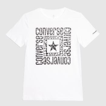 Converse White & Black Boys Ss Graphic Logo Boys Tops
