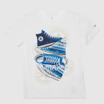 Converse White & Blue Boys Sneaker Stack T-shirt Boys Tops