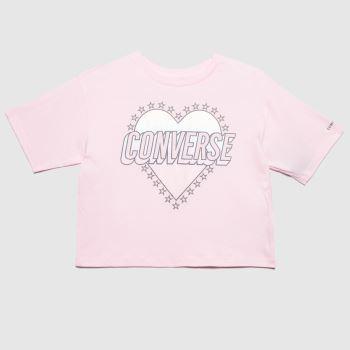 Converse Pale Pink Girls Heart Boxy T-shirt Girls Tops