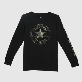 Converse Black & Grey Boys Camo Ctp Ls T-shirt Boys Tops