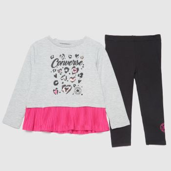 Converse Grey & Black Girls Peplum Legging Set Girls Tops