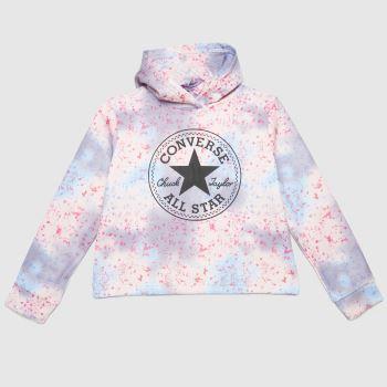 Converse Pale Pink Crop Patch Hoodie Girls Tops