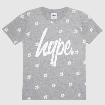 Hype Light Grey Girls T-shirt Daisy Girls Tops